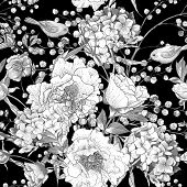 stock photo of mimosa  - Seamless monochrome classic floral pattern - JPG