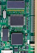stock photo of microchips  - Closeup of electronic Circuit board with Microchips - JPG