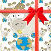 picture of baby goat  - illustration of seamless pattern with cute baby Goats stand on Earth - JPG