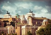 image of emanuele  - view of the monument to Vittorio Emanuele from the ruins of famous ancient Roman Forum - JPG