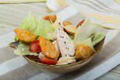 foto of caesar salad  - Caesar salad with chicken and iceberg salad - JPG