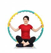 image of hula hoop  - Beautiful woman sitting with color hula hoop - JPG