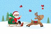 stock photo of sleigh ride  - vector illustration Christmas Santa Claus with a bag of gifts on a sleigh ride with the reindeer - JPG