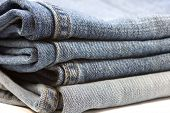 stock photo of denim jeans  - Blue Denim jeans pocket close up texture - JPG