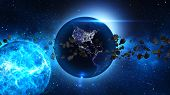 stock photo of meteors  - Planet Earth with sun and asteroid in universe or space - JPG