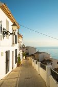 stock photo of costa blanca  - Charming Altea old town street Costa Blanca Spain - JPG