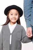image of kindergarten  - Japanese kindergartener walking to kindergarten with her father - JPG
