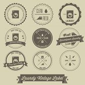 stock photo of dirty-laundry  - creative design of Laundry business vintage label - JPG