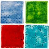 pic of raku  - Handmade glazed ceramic tiles isolated on white - JPG