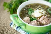pic of sorrel  - sorrel soup with meat and sour cream in a dish - JPG