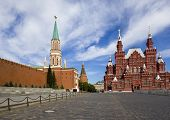 Moscow Kremlin wall and Kremlin and Historical museum on red square poster