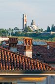 picture of vicenza  - View of typical roofs of some houses in Vicenza with Mount Berico in the background - JPG