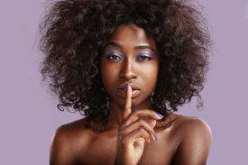 pic of shhh  - beauty black woman making shhh - JPG