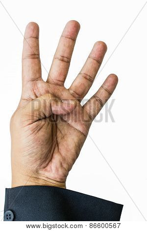 Raise Four Finger Businessman Hand In White Background