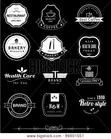 Collection of Premium Quality and Labels with retro vintage styled design