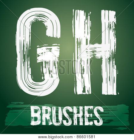 Vector set of grunge brush font available for military, construction and transportation themes. Letters G H