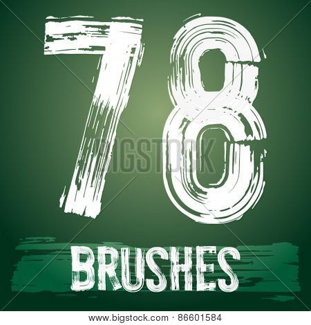 Vector set of grunge brush font available for military, construction and transportation themes. Numbers 7 8