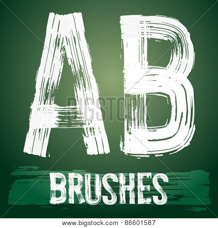 Vector set of grunge brush font available for military, construction and transportation themes. Letters A B