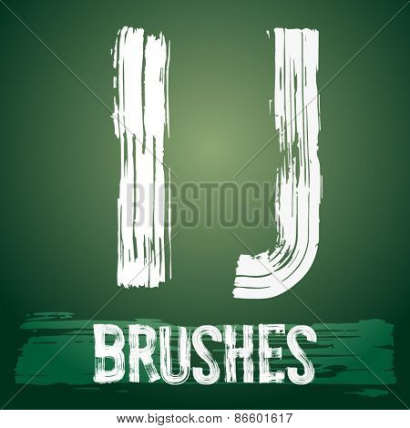 Vector set of grunge brush font available for military, construction and transportation themes. Letters I J