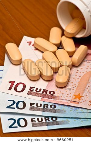 medicine container and money
