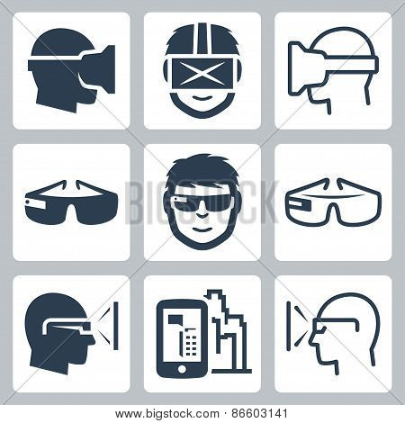 Virtual And Augmented Reality Vector Icon Set