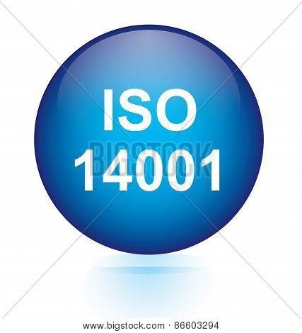 Iso 14001 blue circular button
