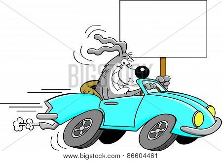 Cartoon dog driving a car and holding a sign.