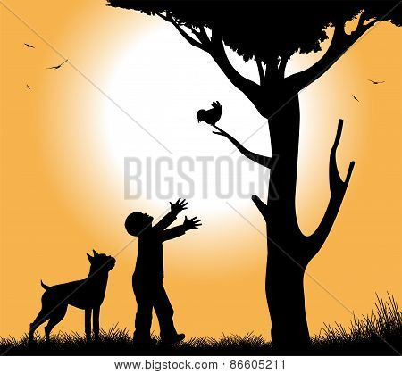 dog with his dog under a tree