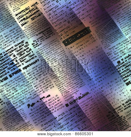 Abstract newspaper on blurred background.