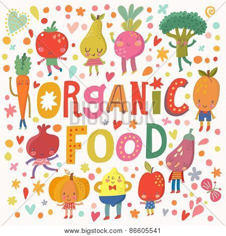 Lovely organic food concept card with sweet fruits and vegetables in vector. Tasty lemon, apple, eggplant, apricot, broccoli, beet, pear, tomato, carrot, pomegranate and pumpkin in funny cartoon style