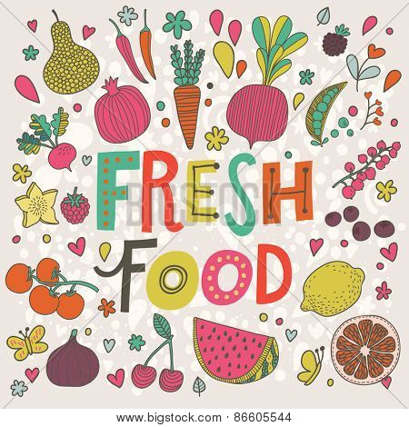 Lovely fresh food concept card in vector. Tasty pear, cherry, pomegranate, orange, mango, watermelon, lemon, apple, red currant, raspberry, fig, blueberry and carambola  in funny cartoon style