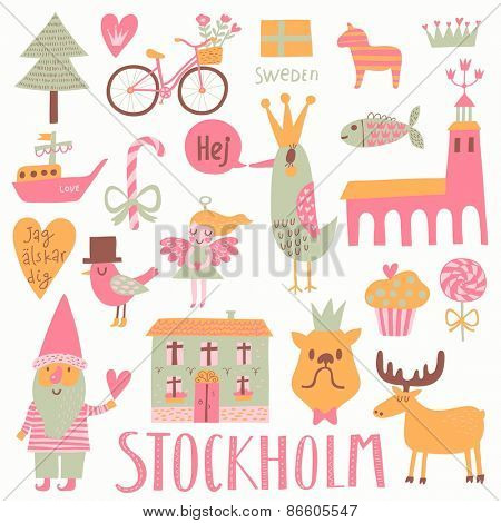 Stockholm Sweden set in vector. Sweet scandinavian set with house, church, gnome, birds, moose, bicycle, horse and other Stockholm symbols