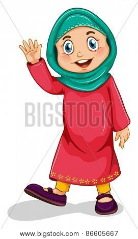 Close up muslim girl waving a hand