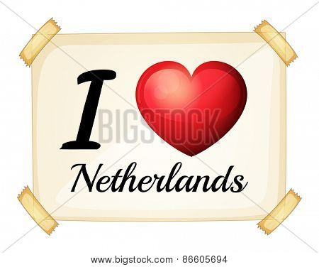 Poster I love Netherlands on the wall
