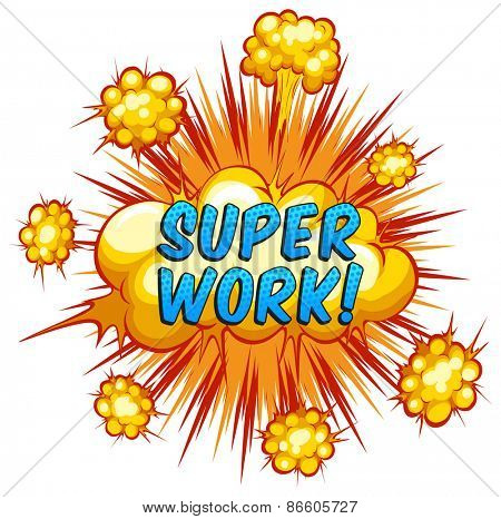 Word super work with explosion background