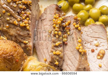 Close Up Image Of Sliced Roast Beef With Grilled Vegetables.