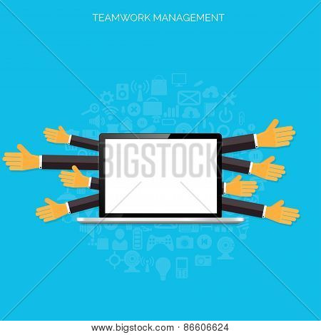 Teamwork management concept. Flat icons. Global communication and working experience. Business, brie