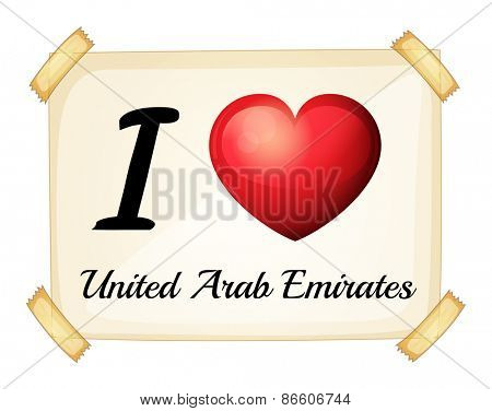 Poster I love United Arab Emirates on the wall