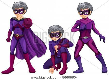 Three poses of superhero with mask and cape