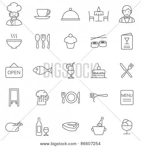 Restaurant line icons set.Vector