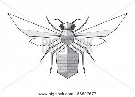 Bee. Low polygon linear vector illustration
