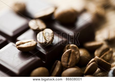 dark chocolate and coffee beans