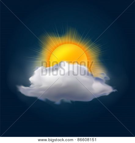 Vector cloud and sun