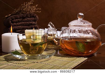 Spa Still Life: Green Tea, Aromatic Oil, Towels