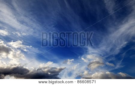 Sunny Sky With Clouds In Wind Day