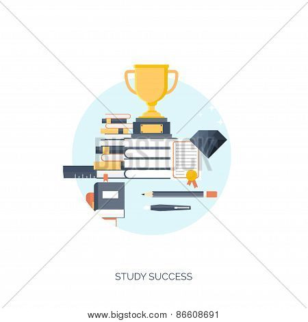 Flat vector illustration. Trophy, study success. Study and learning concept background. Distance edu