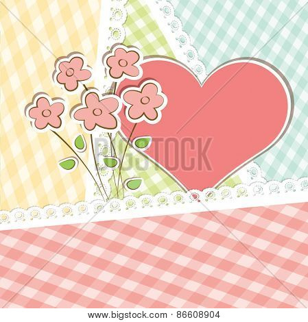 Beautiful vector card with hearts and flowers.
