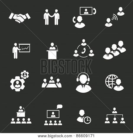 Business people online meeting strategic pictograms set of presentation online conference and teamwo