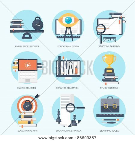 Flat vector illustration. Study and learning concept backgrounds set. Distance education, brainstorm