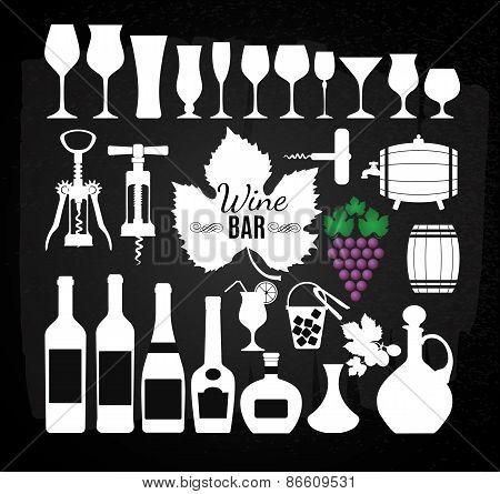 Wine set on chalk board.